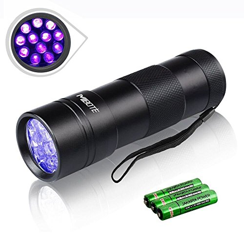 Ultraviolet Led Flashlight,Mibote 12 LED UV Flashlight,Pets Urine and Stains Detector,Scorpion Hunter & Finder, Handheld Blacklight to Find Stains on Carpet, Rugs or Clothes,3xAAA Batteries Included - Finder Uv Light
