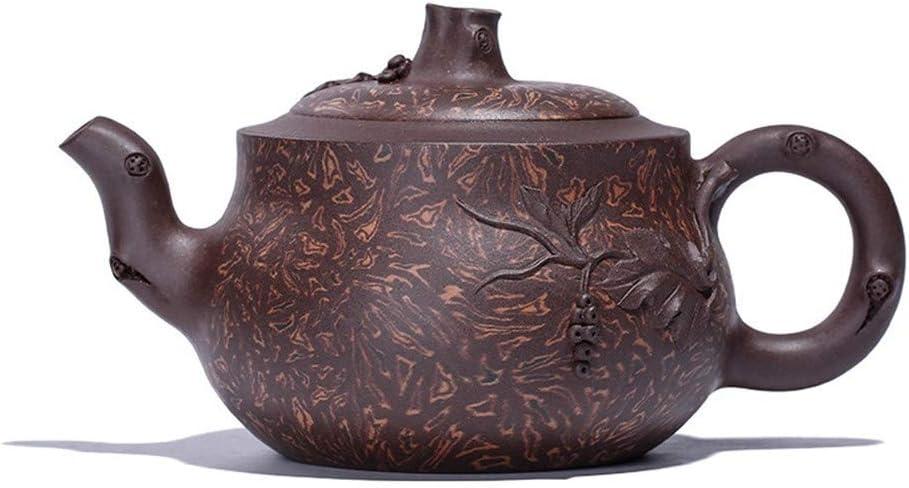 Xiang Ye 手品メーカーでの宜興粘土鉱石ツイストMuyun春樹茶ティーポット (Color : Purple mud, Size : ワンサイズ)