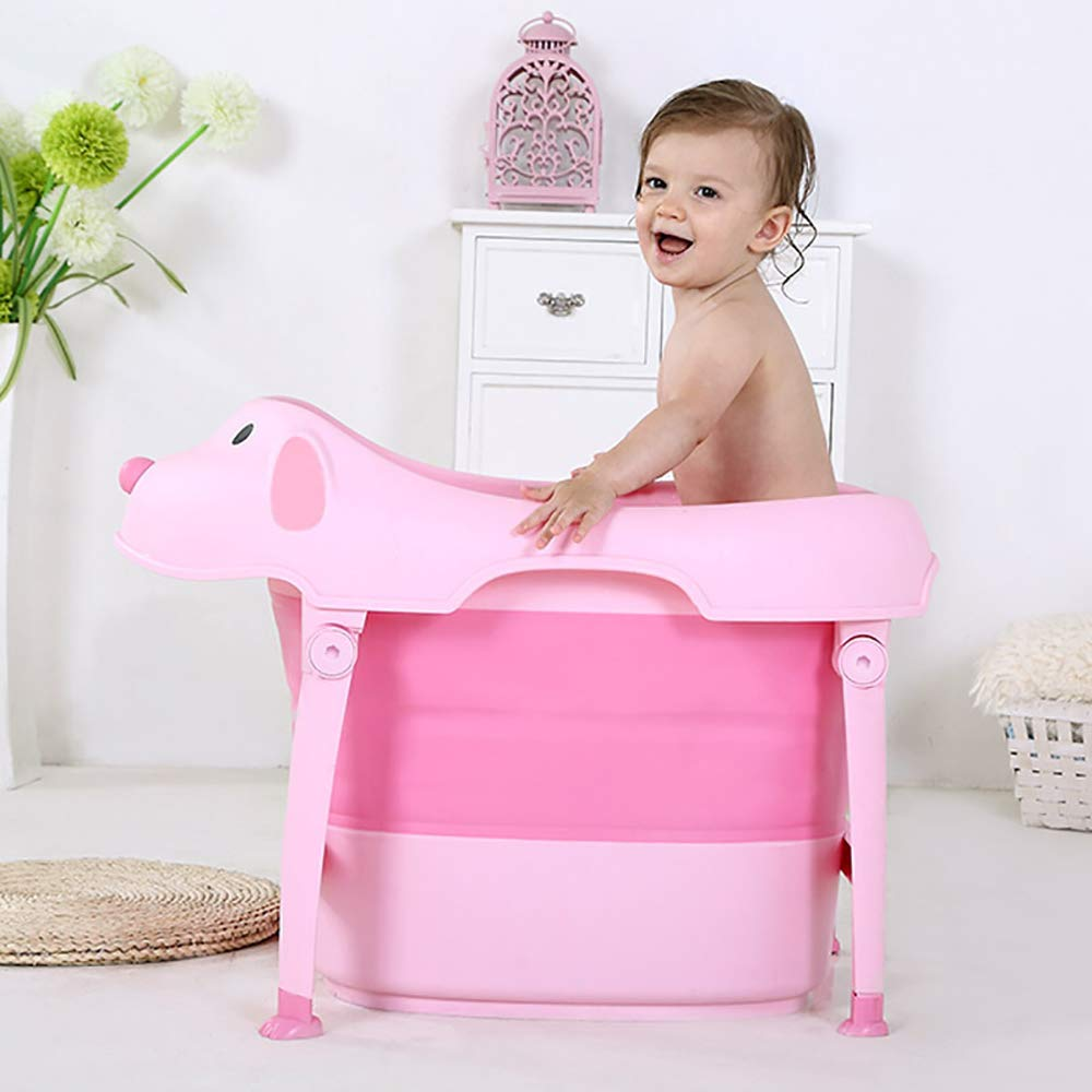 FOME Non-Slip Portable Folding Baby Bath Tub Foldable Shower Basin Collapsible Baby Bathtub Baby Shower Basin with Temperature Sensing for Baby Aged 6 Months to 10 Years Old Collapsible Bathing Tub