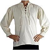 'Merchant' High Collar, Renaissance Festival Costume Shirt, Pirate, Steampunk - Cream/Off White