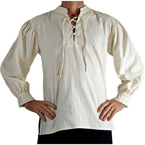 'Merchant' High Collar, Renaissance Festival Costume Shirt, Pirate, Steampunk - Cream/Off White by Zootzu