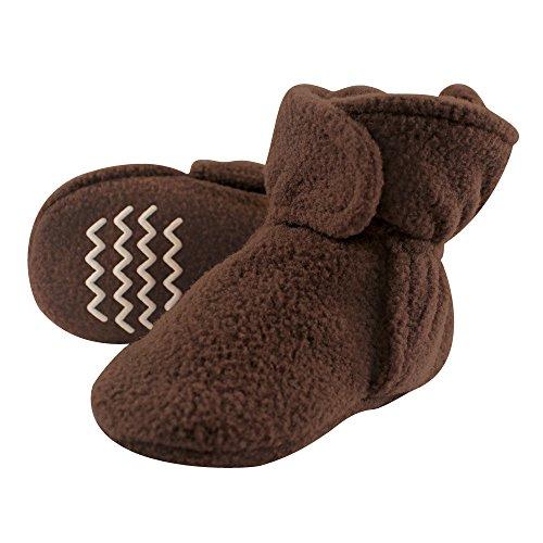 Hudson Baby Baby Cozy Fleece Booties with Non Skid Bottom, Brown, -