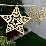 Hot Sales!! ZOMUSA 10pcs Wood Chip Tree Hanging Ornaments,Christmas Tree Decorations,Christmas Decoration Pendants (C)