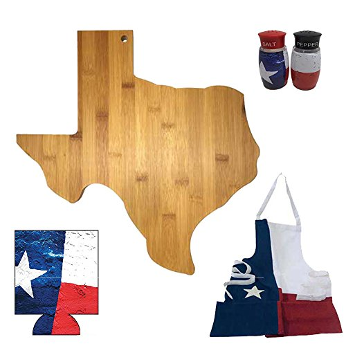 (Texas BBQ Gift Box - Bamboo Texas Shaped Cutting Board, Texas Apron, Texas Salt & Pepper Shaker Set & Texas Can Cooler BUNDLED!)
