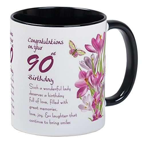 CafePress 90Th Birthday Butterfly And Crocus Gift Mug Mugs Unique Coffee Mug, Coffee Cup