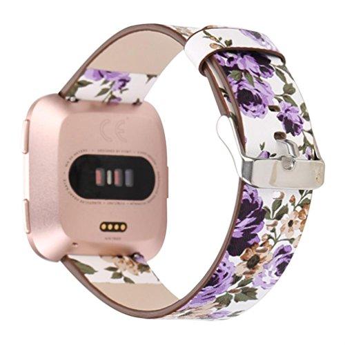 Banda de Cuero para Fitbit Versa Watch, Oucan Business Pulsera de reemplazo de Pulsera Mental Correa de Repuesto Ajustable...
