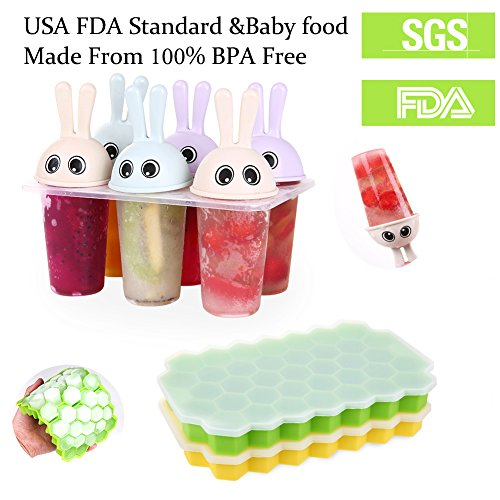 Ice Cube Trays 2 Pack Silicone Ice Cube Maker Molds + Reusable Popsicle Molds Ice Pop Molds Maker Set of 6, FDA Food Grade Material by Changlian