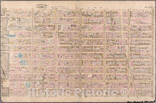 (Historic Map | 1885 New York (N.Y.), [Plate 15: Bounded by W. 52nd Street, Sixth Avenue, W. 40th Street, and (Hudson River) Twelfth Avenue.] | Vintage Wall Décor | 44in x 30in)