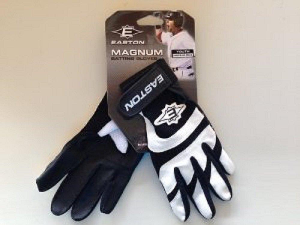 Easton Magnumシリーズユースバッティンググローブ – カラーブラック、ホワイトSmall B016NP8F20