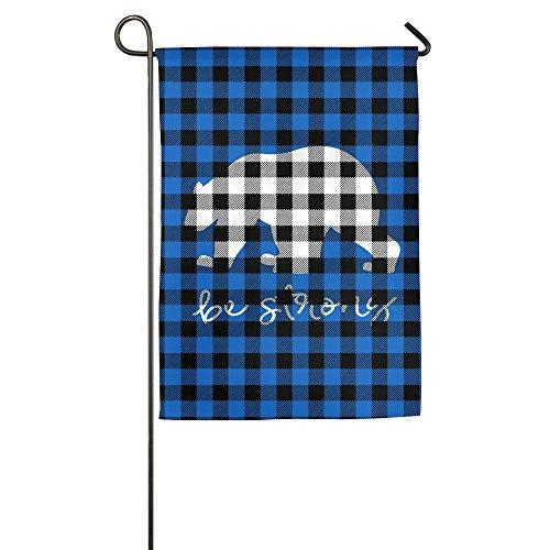Plaid Bear Buffalo Custom Family Party Home Garden Flags All-Weather Polyester Stand 12x18 (Custom Long Halloween Beards)