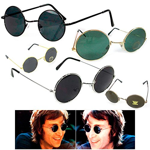1 John Lennon Sunglasses Round Shades Gold Black Frame Lenses Retro Hippie - Shipping Weight Sunglasses