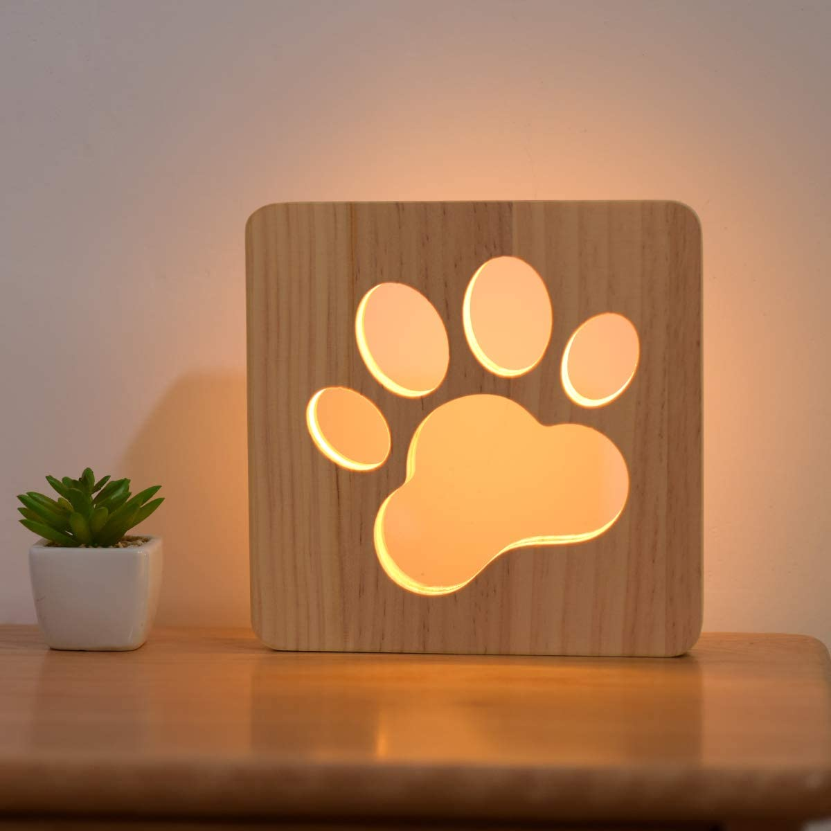 Dog Paw Wood Night Light, Puppy Art Decor Lettered Slat Box Sign, Cartoon Hollow Design for Dog Lover Bedroom, Children Kids