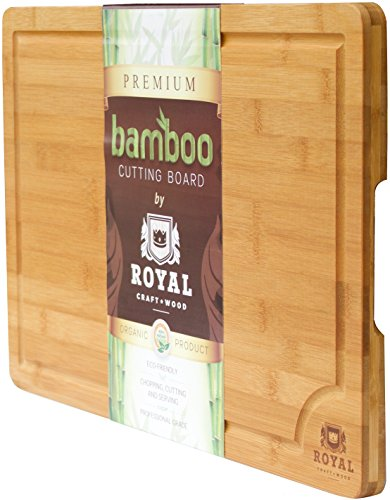 ROYAL CRAFT WOOD Natural Bamboo Cutting Board, Serving Tray, Extra Large 18