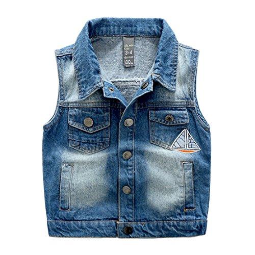Goodluckclothes Kids Boys Sleeveless Cotton Denim Vest Jacket (Cotton Sleeveless Jeans)