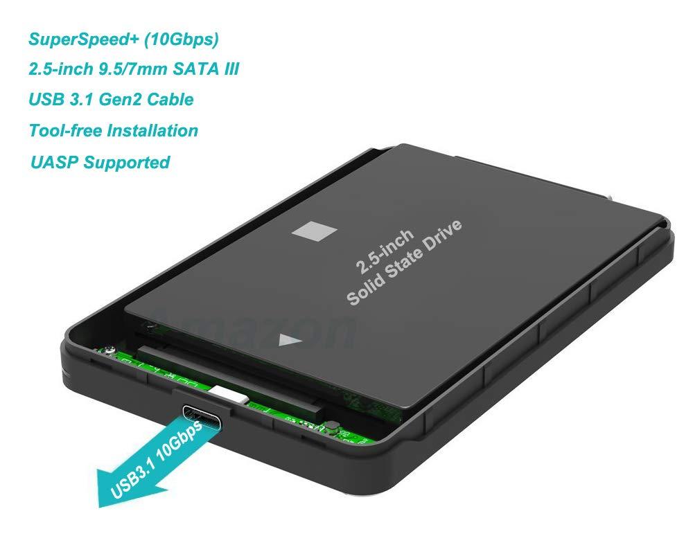 USB 3.1 Gen2 Type C Carcasa para Disco Duro Externo DE 2.5 - PeakLead Caja con SuperSpeed+ (10Gbps) SATA HDD y SSD, Hard Disk Drive Estuche, ...