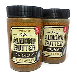 Trader Joe's Crunchy Almond Butter Raw No Salt 16 Oz (2 Pack)