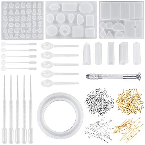 Anpro Resin Casting Molds and Tools Set 9 Pack Casting Molds 100pcs Screw Eye Pins, 40pcs Straight Pins, 5pcs Plastic Stirrers, 5pcs Plastic Spoons, 5pcs Plastic Pipettes and 1 Hand Twist Drill