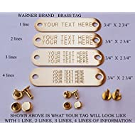Warner Brand Brass (gold) Tag (1) for Dog Collar with 3-Sets of rivets Pet ID Plate, ID tag