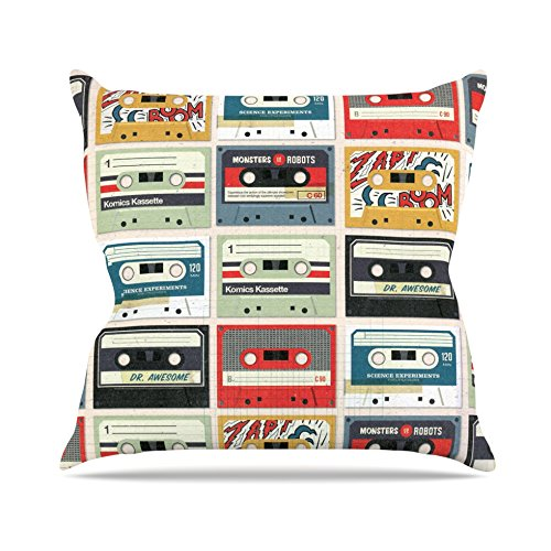 Kess InHouse Heidi Jennings Retro Tape Multicolor Throw Pillow, 16 by 16-Inch from Kess InHouse