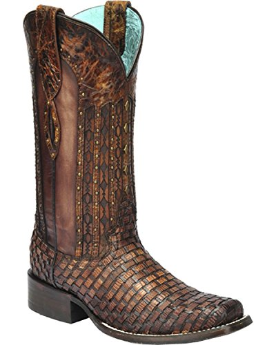 CORRAL Women's Exotic Lizard Woven Cowgirl Boot Square Toe Tan 10 M US