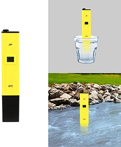 Hach Water Quality Test Strips (GPCT [Pocket Sized] Digital Accurate pH Test Meter. 0-14 pH Range, CE/RoHS Certified. pH Pen Tests [Quality Tester] Household Drinking Water, Aquarium, Swimming Pool, Ponds, Hydroponics Soil- Yellow)