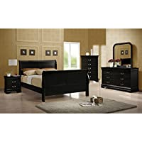 Louis Philippe Collection 203962 22 Nightstand with 2 Drawers Silver Bail Drawer Handles Tropical Hardwood and Okume Veneer Construction in Black Color