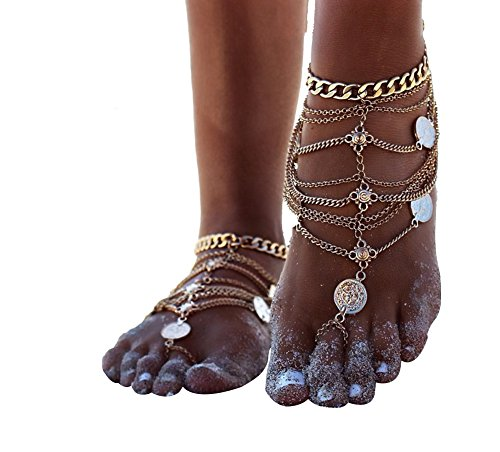 Gold Toe Womens Anklets (Zhenhui 1 Pair Boho Vintage Silver Tone Gold Tone Coin Blessing Symbol Tassel Indian Anklets Foot Jewelry 2 Pcs (Yellow))