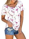 Karuina Womens Short Sleeve Shirts Casual Summer Tops Flamingos Printed Tees Blouse
