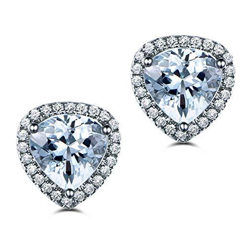 Gnzoe Jewelry-925 Sterling Silver Women Stud Earrings With Heart Blue Faux Topaz Decemebr ()