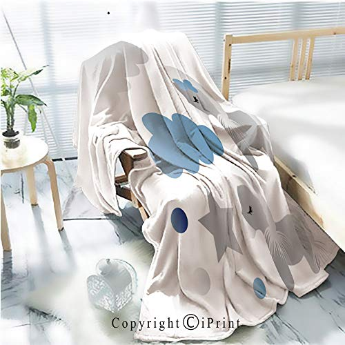 My Little Pony With Moon And Wand (Printed Soft Blanket Premium Blanket,Drawing of a Cartoon Cute Toy Pony Clouds and Stars in Color and line Art Microfiber Aqua Blanket for Couch Bed Living Room,W59.1)