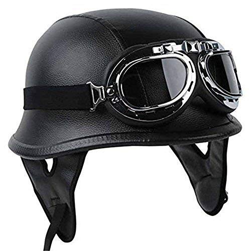 Half Helmet Black Dot Adult German Style added leather protection with goggles ()