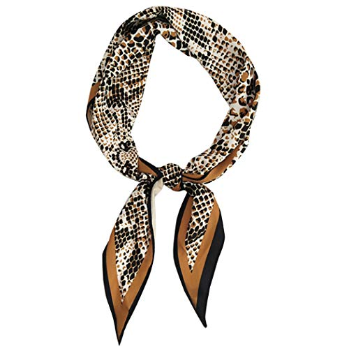 GERINLY Chic Snake Skin Neckerchief Women Spring Rhombus Hair Wrap Bag Handle Acessory(Snake Skin)