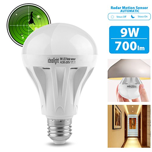 Motion Sensor Light Bulb Radar Motion Activated LED Bulb Dusk to Dawn E26/E27 Auto On/Off Indoor/Outdoor Movement Detector Night Light for Front Door Hallway Stairs Basement Patio Porch Garage (1pack) (Lite Patio 1 Door 2)
