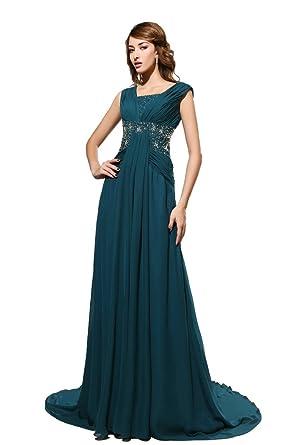 Kimgala Womens Scoop A Line Cap Sleeve Chiffon Vestidos De Fiesta Largos Beaded Long Prom Dress