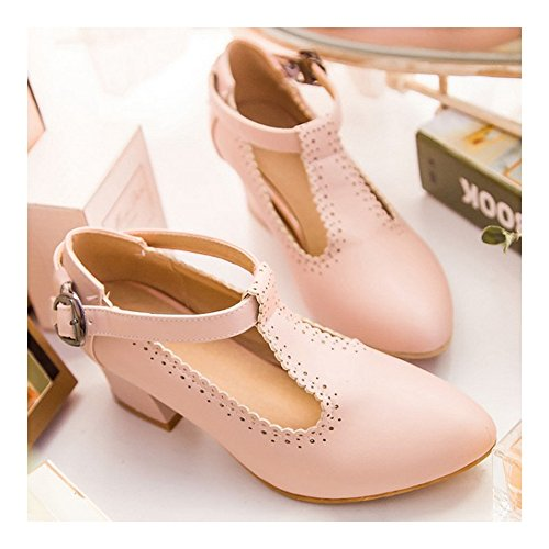 Thin Small Heel Thick Pointed Buckle 37 Shoes pink SSqTRa
