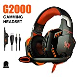 KOTION EACH G2000 PC Gaming Headset Over-ear Game Gaming Headphone Headset Earphone Headband with Volume Control with Mic Stereo Bass LED Light for PC,PS4,Xbox One (Black Orange)