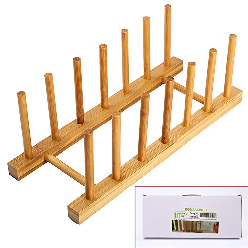 - Bamboo Plate Rack For Cabinet With Gift Box, Kitchen Storage Holder Stand for Dish / Bowl / Pot Lid / Sheet Pans /Cutting Board by HTB (1 PCS)