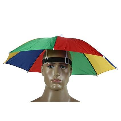 Portable Umbrella Hat Sun Shade Camping Fishing Hiking Golf Beach Headwear  Outdoor Brolly for Men Handsfree Umbrella Tackle - Rainbow - - Amazon.com fa9047ddb3e