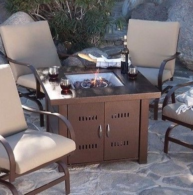 - Patio Fire Pit- Premium Outdoor Fire Pit Table Patio Deck Backyard Heater Fireplace Propane LP Furniture