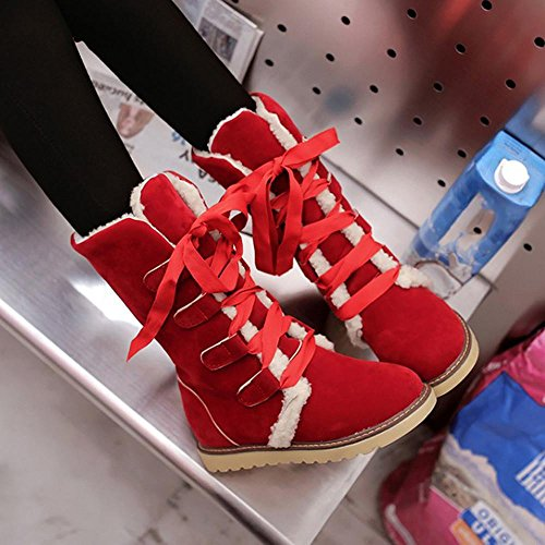 erthome Snow Bandage Boots, Women Winter Fashion Female Ankle Boots Woman Casual Shoes Red