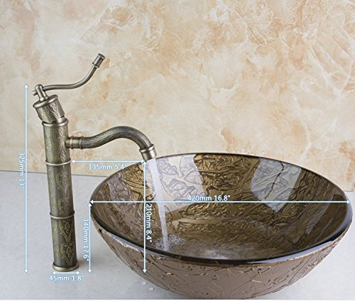 GOWE Bathroom Basin Sink Vessel Tap Antique Brass Excellent Quality Lavatory Glass Basin Set 2
