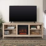 Tucker 70 Inch Television Stand with Fireplace in White Oak Finish