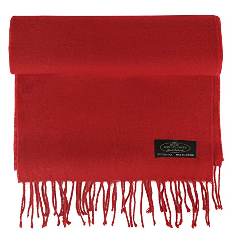 100% Cashmere Scarf Super Soft For Men And Women Warm Cozy Scarves Multiple Colors FHC Enterprize (Red) ()