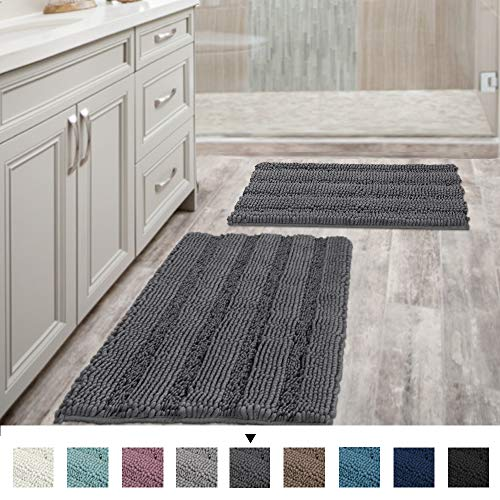 H.VERSAILTEX Grey Bath Mats for Bathroom Non Slip Ultra Thick and Soft Chenille Plush Striped Floor Mats Bath Rugs Set, Microfiber Door Mats for Kitchen/Living Room (Pack 2-20