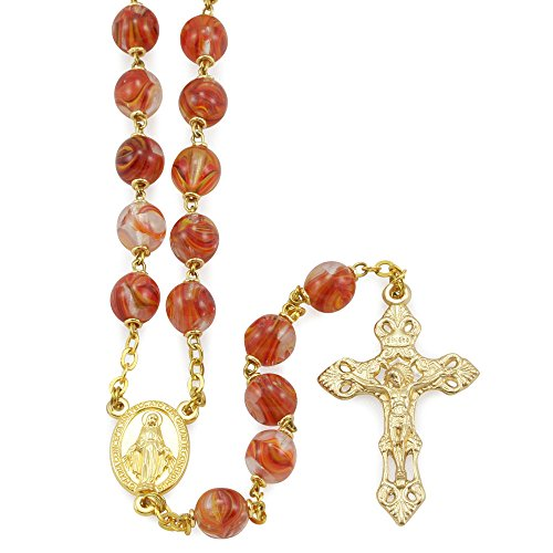 Rosary with Red and Gold Striped Glass Beads