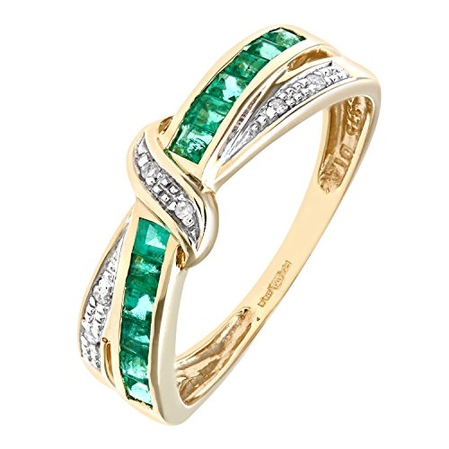 Bague Femme - Or jaune (9 Cts) 2 Gr - Diamant - Emeraude 0.004 Cts - T 49 - PR07360Y EM-J