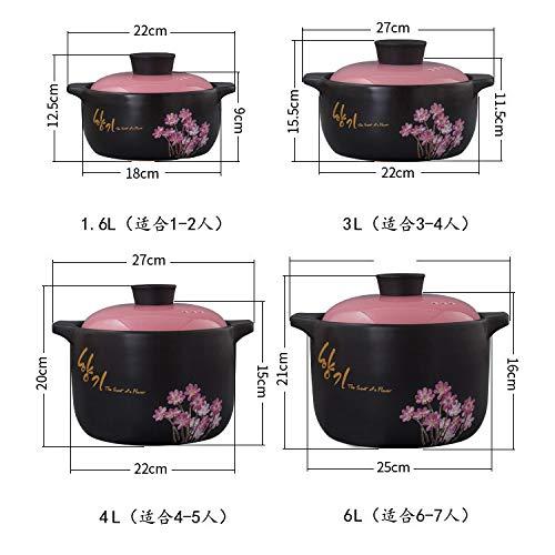 GJJ High Temperature Heat-.Resistant Ceramic Soup Pot Casserole, Natural Health Casserole, Pot Ceramic Pot,Black,3 Liters by GJJ (Image #1)