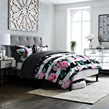Black and White Comforter Set Studio8 brand - LOVE Printed Comforter Set - 6 Piece - Pinks/Greens/Black/White - Handpainted Floral Design - Full/Queen Size, Includes 1 Comforter, 2 Shams, 3 Decorative Pillows - Easy Care