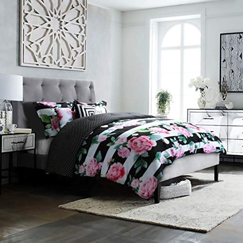 (Studio8 brand - LOVE Printed Comforter Set - 6 Piece - Pinks/Greens/Black/White - Handpainted Floral Design - Full/Queen Size, Includes 1 Comforter, 2 Shams, 3 Decorative Pillows - Easy)
