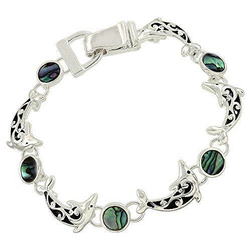 (Liav's Dolphin Charm Fashionable Bracelet / Vine Filigree / Abalone Paua Shell / Silver Plated / Magnetic Clasp / Unique Gift and Souvenir by)